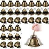 30 Pieces Craft Bells Bronze Tone Jingle Bells Vintage Decoration Bells with Spring Hooks for Hanging Christmas Wind Chimes M