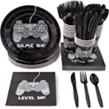 Disposable Dinnerware Set - Serves 24 - Video Game Party Supplies - Includes Plastic Knives Spoons Forks Paper Plates Napkins
