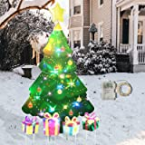 GLORYA Christmas Yard Decorations,46-Inch Laser Waterproof Layer Christmas Tree with 9 Modes of String Light is Outdoor Lawn