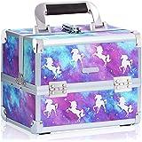 Joligrace Makeup Train Case Unicorn Style Cosmetic Organizer Box Lockable with Mirror & Brush Pocket