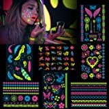 HOWAF 7 sheet Lace Glow in the Dark Temporary Stickers for Women Girls Adult