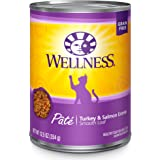 Wellness Natural Grain Free Wet Canned Cat Food, Turkey & Salmon Pate, 12.5-Ounce Can (Pack Of 12)