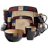 Gibson Soho Lounge 16-Piece Mosaic Reactive Glaze Dinnerware Set, Multicolor