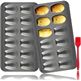 Madeleine Pan, OAMCEG 2 Pack 12-Cup Heavy Duty Shell Shape Baking Cake Nonstick Mold Pan, FDA Approved for Oven Baking Shell
