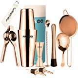 ARSSOO Bartender Kit - Stainless Steel Cocktail Shaker Bar Set with 600/800 ML Weighted Boston Shakers, 25/50 ML Jigger, 2 Po