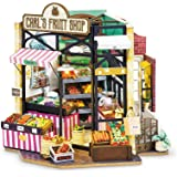 Rolife DIY Miniature Dollhouse Kit 1:24 Scale Model Green Grocery Diorama Gifts for Adults(Carl's Fruit Shop)