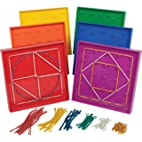 edxeducation Double-Sided Geoboard Set - In Home Learning Manipulative for Geometry and Creativity - 5 x 5 Grid/12 Pin Circul