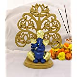 TiedRibbons Gold Plated Ganesh Statue - Ganesha Idol for Table Desktop Indian God Idol Figurine for Car Dashboard and Gifts 5