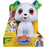 """Crayola Deluxe Color 'N Plush Puppy, 10"""" Stuffed Animal - Draw, Wash, Reuse – with 2 Ultra-Clean Washable Fine Line Markers,"""