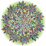 Bgraamiens Puzzle-Magic Tree of Life -1000 Pieces Colorful Leaves Mandala Challenge Blue Board Round Jigsaw Puzzles