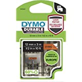 DYMO D1 Durable Label Cassette Tape, 12mm x 3m, Black/Orange