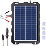 12V Solar Car Battery Charger & Maintainer - Portable 7.5W Solar Panel Trickle Charging Kit for Automotive, Motorcycle, Boat,