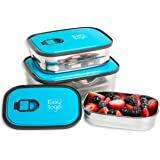 Leak Proof Bento Lunch Box Set | Reusable 3 Pack | Nesting Stainless Steel Metal Storage Food Containers for Men Women or Kid