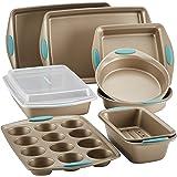 Rachael Ray 47578 Cucina Nonstick Bakeware Set with Grips Includes Nonstick Bread Pan, Baking Sheet, Cookie Sheet, Baking Pan