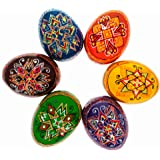 BestPysanky Set of 6 Multicolor Ukrainian Pysanky Wooden Easter Eggs 2.25 Inches