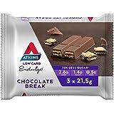 Atkins Endulge Chocolate Break Bars | Keto Friendly Bars | 3 x 21.5g Low Carb Chocolate Bars | Low Carb, Low Sugar, High Fibr
