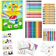 BIC Kids My Farm Colouring Set - 12 Colouring Markers/12 Wax Crayons/ 12 Colouring Pencils/1 Eraser/1 Glue Stick/6 Glitter Gl
