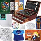 MEEDEN Deluxe Wood Box Art Set, 215-Piece Drawing Supplies Kit with Crayons, Oil Pastels, Colored Pencils, Paints, Pads, Pain