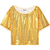 Mirawise Womens Sequin Tops Shimmer Glitter Loose Short Sleeve Party Crop Tops