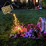 Watering Can with Lights, Large Solar Lanterns Outdoor Hanging Waterproof, Decorative Retro Metal Solar Lights for Table Pati