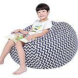 (100cm, Blue Wave) - Kids Bean Bag Large Bean Bag Toy Storage Children's Chair Cover Soft Toy Bag Kids Toys Organiser Bean Ba