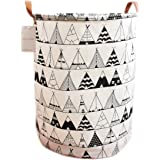 LEELI Canvas Storage Basket with Handle Collapsible Toy Bin Organizer for Playroom,Toy Room,Kid's Toy Box & Laundry,Nursery H