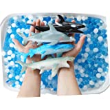 SENSORY4U Ocean Water Beads Swimming with Sharks Sensory Kit - Large Shark Toys Included - Dew Drops Offer Great Fine Motor S