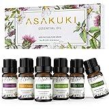 ASAKUKI Aromatherapy Essential Oils includes Lavender, Eucalyptus, Lemongrass, Tea Tree, Sweet Orange and Peppermint, Water-s