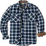 CQR Men's Long Sleeve Heavyweight Fleece Shirts, Plaid Button Up Shirt, Warm Corduroy Lined Collar & Cuffs Shirt