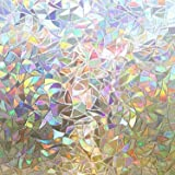 rabbitgoo Window Privacy Film, Rainbow Window Clings, 3D Decorative Window Vinyl, Stained Glass Window Decals, Static Cling W