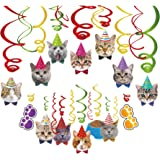 Kristin Paradise 30Ct Cat Face Hanging Swirl Decorations, Kitty Party Supplies, Meow Happy Birthday Theme Decor, Pet Paper Fu