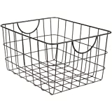 Spectrum Diversified Utility Basket, Sturdy Steel Wire Storage Solution, Curved Easy Grab Handles Decorative Organization for