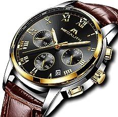 [メガリス]MEGALITH 腕時計 メンズ防水時計レザー クロノグラフウオッチ 多針アナログクオーツ腕時計 ルミナス夜光 日付表示 ラグジュアリー おしゃれ ビジネス カジュアル 男性腕時計