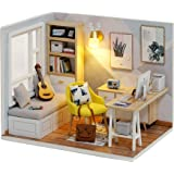Cute Room DIY Miniature Dollhouse Kit with Furniture,Wooden Doll House Plus LED Lights Dust Cover, DIY House Kit (Study Room)
