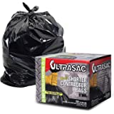 UltraSac Contractor Trash Bags - (50 Pack /w Ties) - Heavy Duty 3 MIL Thick, 39' x 32', Shorter 33 Gallon Black Version - For