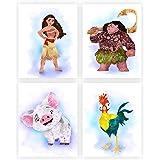 Disney Princess Watercolor Wall Art. Moana. Vaiana. Pua. Heihei. Nursery/Kids Room Wall Art. 4 set (8x10). Unframed.