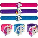 3 PCS Flashing LED Unicorn Slap Bracelets for Kids, Light Up Unicorn Slap Wrist Bands, Unicorn Toy Bracelets for Girls, Tween