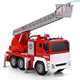 """JOYIN 12.5"""" Fire Truck Toy Jumbo Friction Powered Fire Engine Truck with Lights and Sounds / Sirens, Rescue Boom, and Water P"""