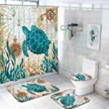 "Sea Turtle Shower Curtain Set with Non-Slip Bathroom Mats, Polyester, Turtle, 70""L x 69""W"