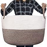 Luxury Little Nursery Storage Basket, Size XXXL :: 100% Cotton Rope Hamper with Handles :: Sturdy Baby Bin Organizer for Laun