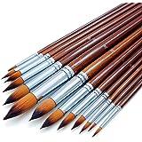 Artist Watercolor Paint Brushes Set 13pcs - Round Pointed Tip Soft Anti-Shedding Nylon Hair Wood Long Handle - Detail Paint B