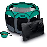 "Ruff 'n Ruffus Portable Foldable Pet Playpen + Carrying Case & Collapsible Travel Bowl (Extra Large (48"" x 48"" x 23.5"")) (Lar"