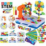 2020 Upgrade STEM Educational Toys for Kids, Electric Drill Puzzle Toy Set and Button Art Kit, 3D Construction Engineering Bu
