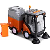 Toy To Enjoy Street Sweeper Truck with Light & Sound Effects - Friction Powered Wheels, Removable Garbage Can & Rotating Brus