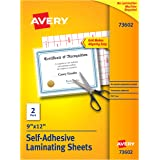 Avery Self-Adhesive Laminating Sheets 2 Sheets Clear