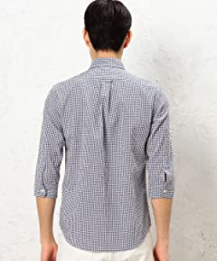 Seersucker 7/10 Sleeve Buttondown Shirt 3216-299-1125: Navy Gingham