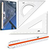 "Mr. Pen- 3 Pc Large Triangular Ruler Set, Triangular Scale, 11"" 30/60 and 8"" 45/90 Triangles, Architectural Scale Ruler, Arch"