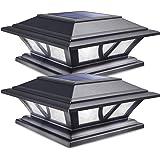 Siedinlar Solar Post Lights Outdoor 2 Modes LED Deck Fence Cap Light for 4x4 5x5 6x6 Posts Patio Garden Decoration Warm White