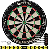 Viper Shot King Sisal/Bristle Steel Tip Dartboard with Staple-Free Bullseye and 6 Darts