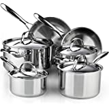 Cooks Standard Classic Stainless Steel Cookware Set, Silver, 10- Pieces, 02631